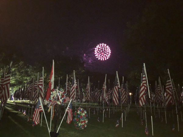 Fireworks over flags Brecksville OH