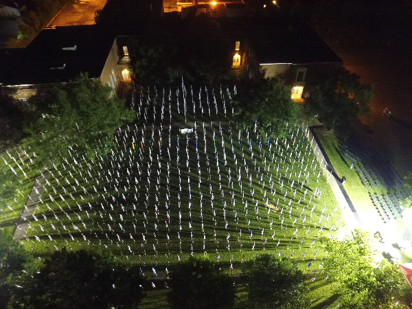 aerial shot of flags on display nighttime Brecksville OH