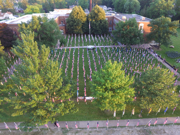 aerial shot of flags on display daytime Brecksville OH