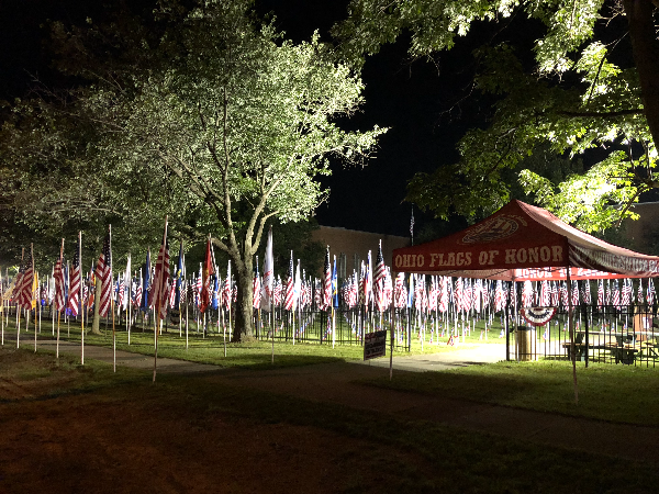 Ohio Flags of Honor tent with flags on display Brecksville OH